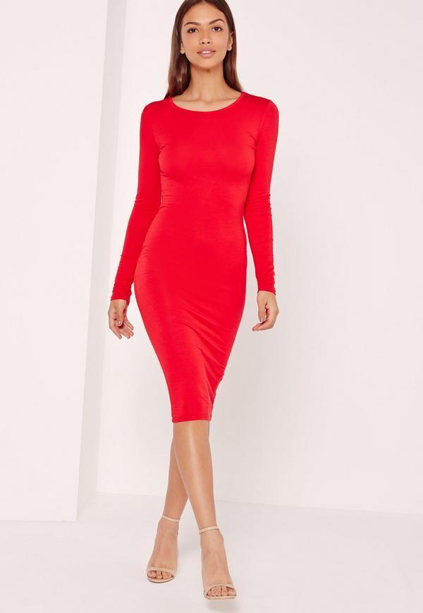 Robe rouge longue moulante