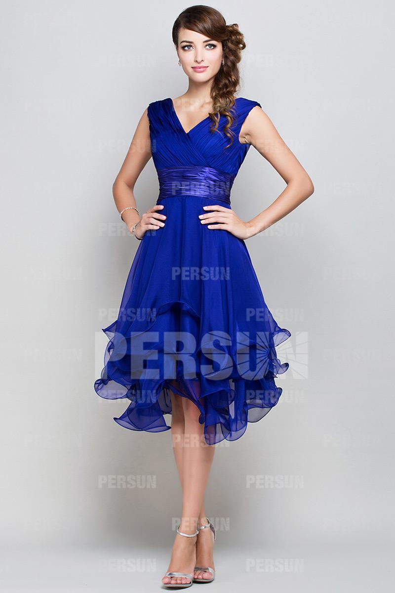 Robe soirée courte bleu roi