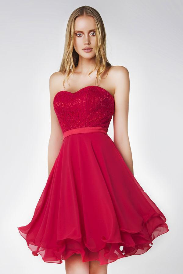 Robe soirée courte rouge