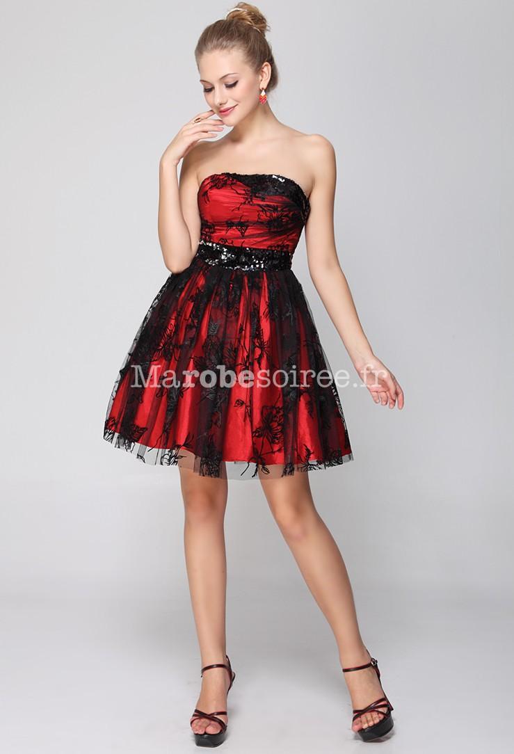 Robe soirée rouge et noir