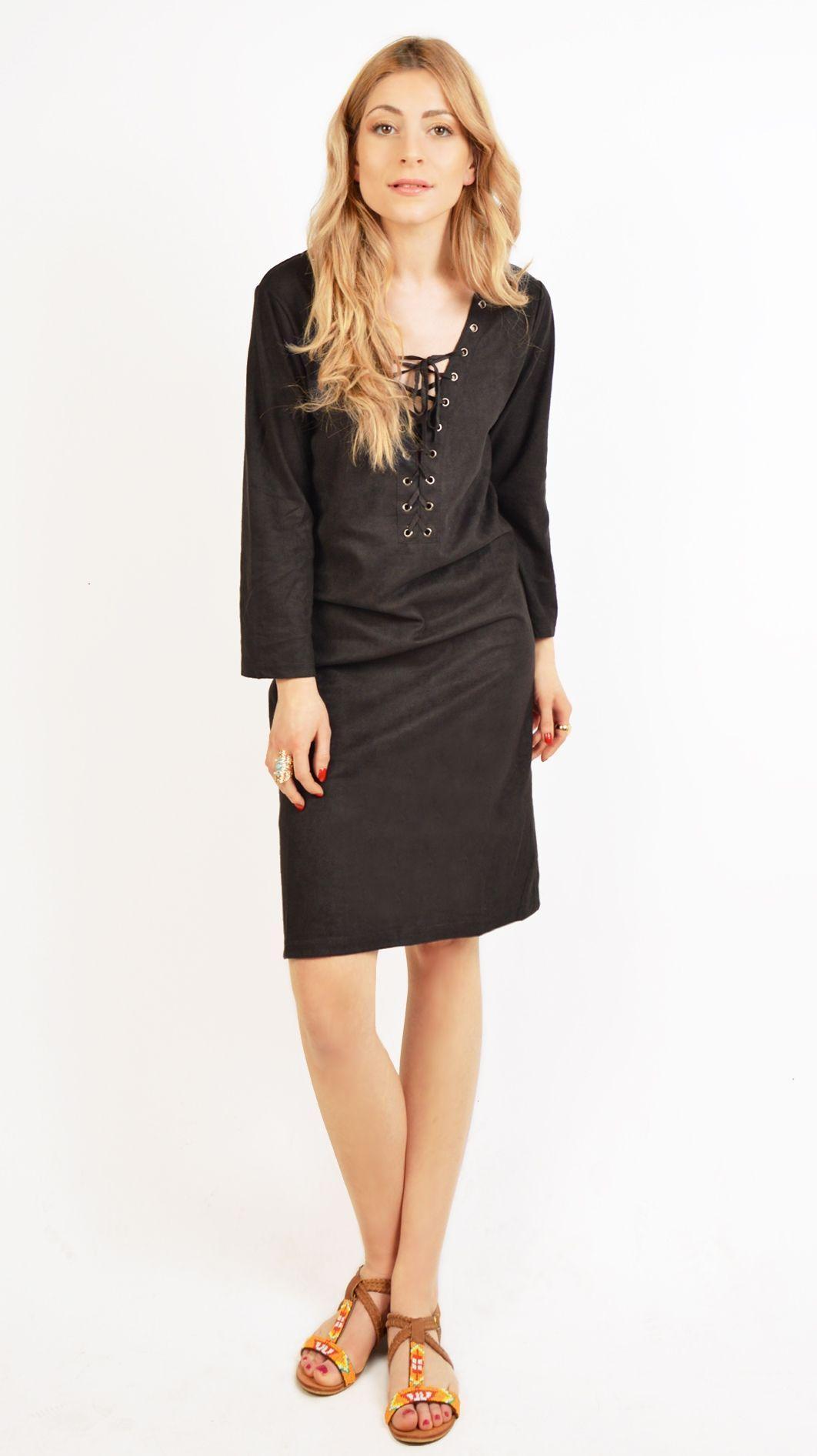 Robe suedine noir