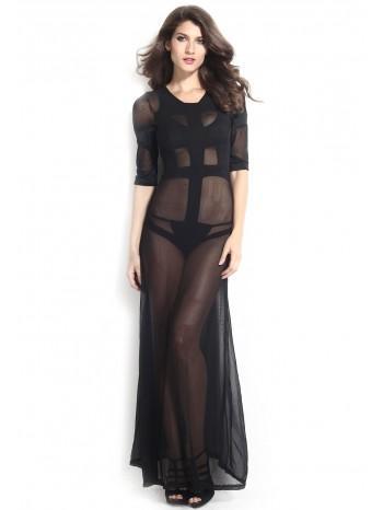 Robe transparente noir