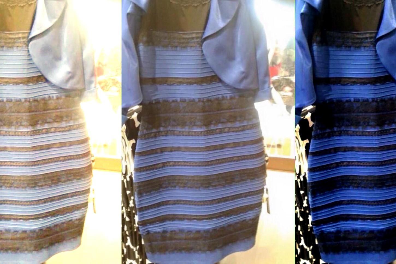 Robe trompe l oeil bleu et noir