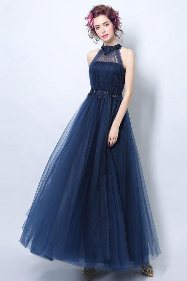 Robe tulle bleu marine