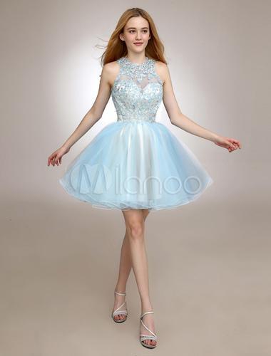 Robe tulle bleu