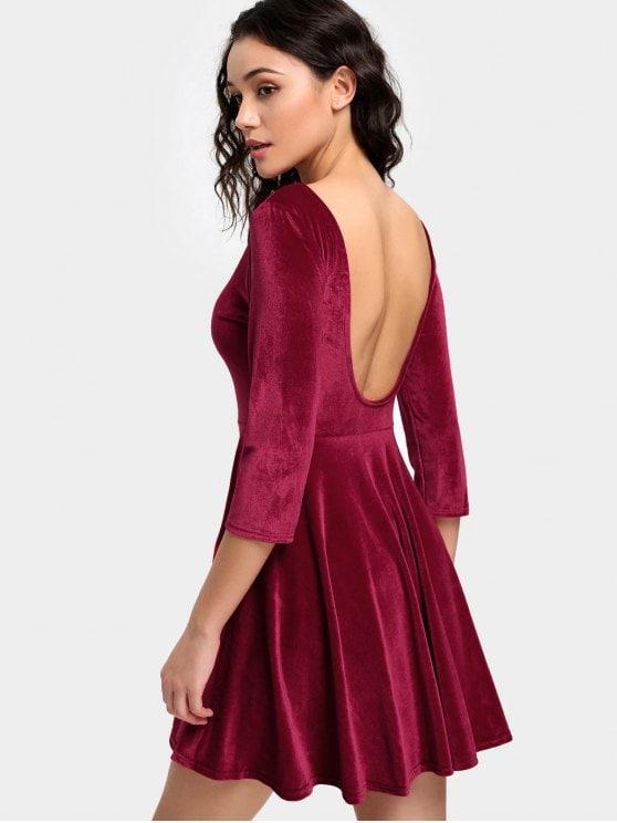Robe velour rouge
