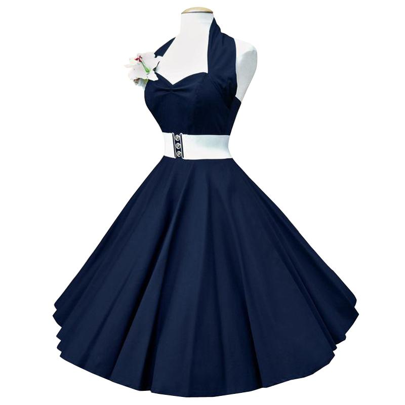 Robe vintage bleu marine