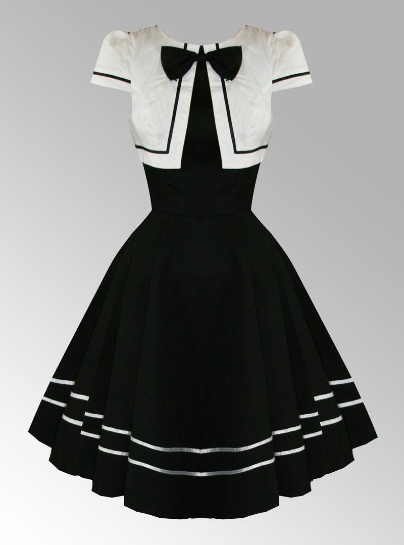 Robe vintage noir et blanche