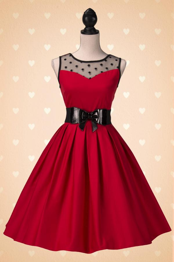Robe vintage rouge et noir